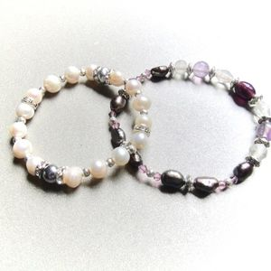 NEW! Freshwater Pearl Crystal Stretch Bracelets